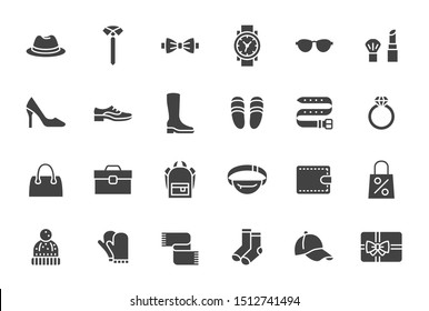 Accessory, Fashion Silhouette Icons. Vector Illustration Included Icon as Footwear, High Heels Shoes, Bow Tie, Backpack, Knitted Clothes and other Apparel Flat Pictogram for Cloth Store