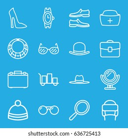 Accessory icons set. set of 16 accessory outline icons such as mirror, hat, woman shoe, wrist watch, man shoe, winter hat, nurse hat, case, sunglasses, luggage