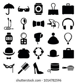 Accessory icons. set of 25 editable filled accessory icons such as hat, necklace, eyeshadow palette, woman shoe, purse, headphones, case, paper clamp, hat and moustache, mask