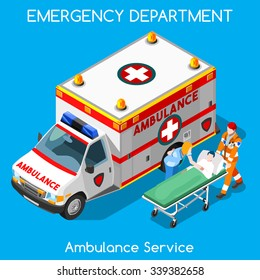 Accident Ambulance Aid Service Clinic Emergency Department Infographics. Patient Disease Health Care Doctor Nurse Medical. Healthcare Medicine Day Hospital 3D Isometric People Vector illustration