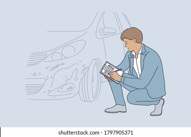 Accident, examination, checkup, automobile concept. Young professional african american man guy insurance agent examining transport vehicle after road collision and recording car damage on claim form.