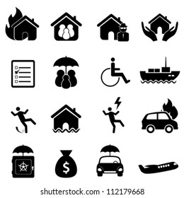 accident icon set in black