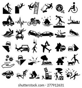 accident icons set for insurance, falling ladder, slippery, gas explosion, stumble, risks, cancer, bites, plane crash, thief, blast, murder, war, wheelchair, earthquake, building collapse, splint