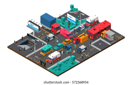 Accident on crossroad design with truck bus cars bicycle police and ambulance injured people isometric vector illustration