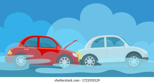 Accident on the road in the fog, smog. Poor visibility and slippery road. Bad weather conditions for car driving. Vector illustration, flat design cartoon style.
