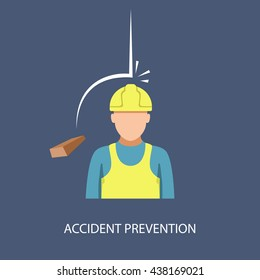 Accident prevention, brick falls on his head in a helmet