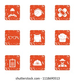 Accident prevention icons set. Grunge set of 9 accident prevention vector icons for web isolated on white background