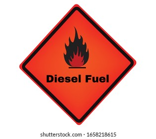 Accident prevention signs, Diesel Fuel sign, beware and careful rhombus Sign, warning symbol, vector illustration.