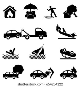 Accident and protection icon set