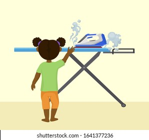 Accident risk with child and hot iron vector illustration. Little girl alone in room at home reaches iron with steam. Burns and fire huzard. Careless handling of electrical appliances.