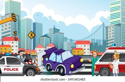 Accident scene with car crash on highway illustration