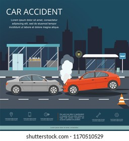 Accident with two cars on the road. Transporation Infographic. Night city.Banner Flat Vector Illustration