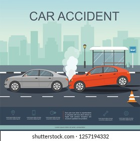Accident with two cars on the road. Transporation Infographic. Banner Flat Vector Illustration