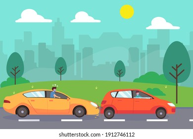 Accident vector concept: Young man feeling angry with damage to his car while wearing face mask in new normal