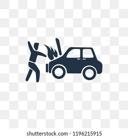 Accident vector icon isolated on transparent background, Accident transparency concept can be used web and mobile