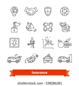 Accidents & Insurance. Thin line art icons set. Life, money, property protection. Linear style symbols isolated on white.