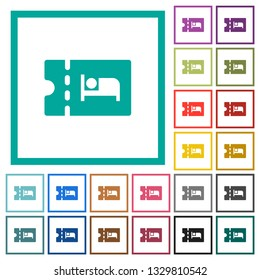 Accommodation discount coupon flat color icons with quadrant frames on white background