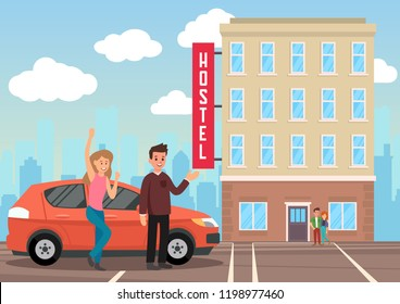 Accommodation in Hostel. Broker Services. Man and Woman in Background of Hostel Building. Travelers and Temporary Housing. Couple came to Hostel by Car. Vector Flat Illustration.