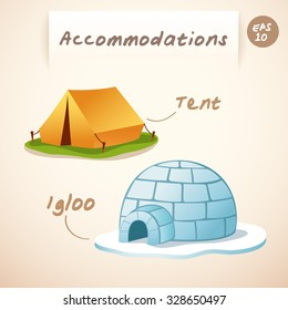 Accommodations : Igloo and Tent : Vector Illustration