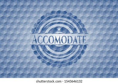 Accomodate blue badge with geometric pattern background. Vector Illustration. Detailed.