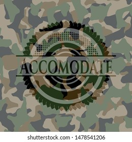 Accomodate on camouflage texture. Vector Illustration. Detailed.
