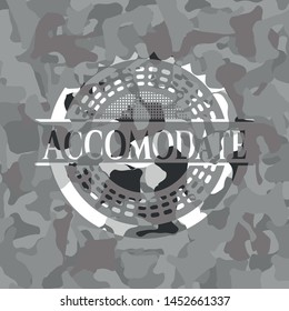 Accomodate on grey camouflage texture