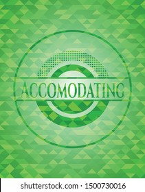 Accomodating green emblem with mosaic ecological style background. Vector Illustration. Detailed.