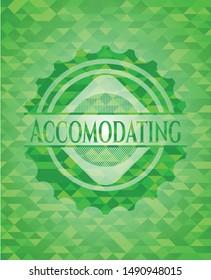Accomodating realistic green emblem. Mosaic background. Vector Illustration. Detailed.