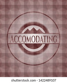 Accomodating red seamless emblem with geometric pattern background.