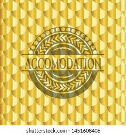 Accomodation golden badge or emblem. Scales pattern. Vector Illustration. Detailed.