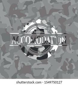 Accomodation grey camo emblem. Vector Illustration.