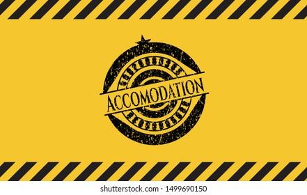 Accomodation inside warning sign, black grunge emblem. Vector Illustration. Detailed.