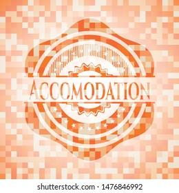 Accomodation orange mosaic emblem with background