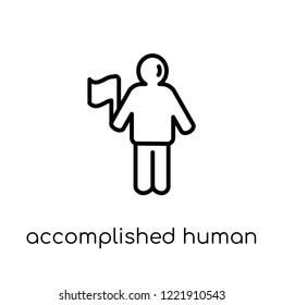 accomplished human icon. Trendy modern flat linear vector accomplished human icon on white background from thin line Feelings collection, editable outline stroke vector illustration