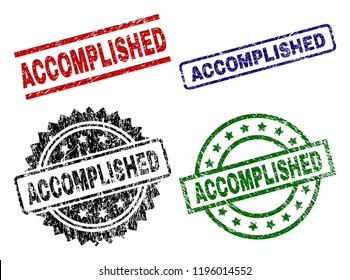 ACCOMPLISHED seal prints with damaged style. Black, green,red,blue vector rubber prints of ACCOMPLISHED label with grunge style. Rubber seals with round, rectangle, rosette shapes.