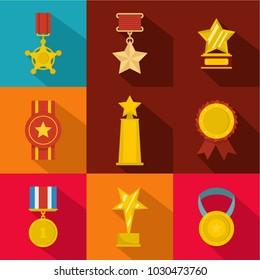 Accomplishment icons set. flat set of 9 accomplishment vector icons for web isolated on white background