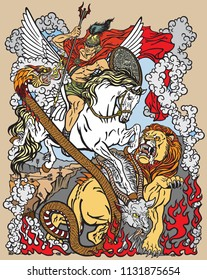 according to ancient Greek mythology the hero Bellerophon or Bellerophontes with the aid of the winged horse Pegasus slew the monster creature as the Chimera . Graphic style vector illustration