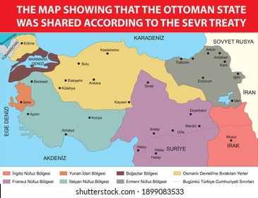 according to the treaty of sevres of the ottoman empire sharing turkish history map