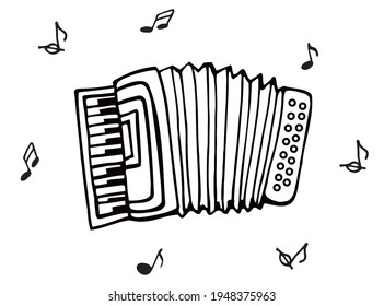 Accordion in black and white, vector, for coloring, for card or gift.