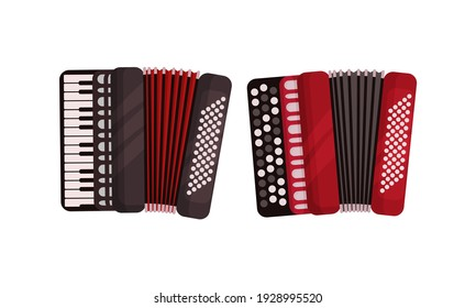 Accordion as Box-shaped Musical Instrument with Key Vector Set
