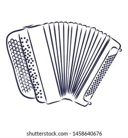Accordion Brayan music instrumental contour vector illustration