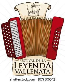 Accordion with a commemorative sign and a crown drawing in scroll, representing the king of the contest in the Vallenato Legend Festival (written in Spanish) in Colombia.