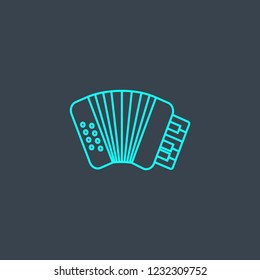 accordion concept blue line icon. Simple thin element on dark background. accordion concept outline symbol design from Music set. Can be used for web and mobile UI/UX