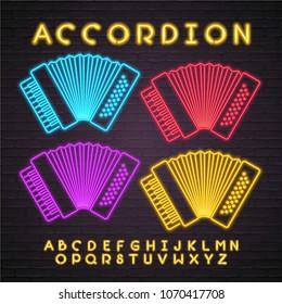 Accordion Icon Neon Light Glowing Vector Illustration with Alphabet Neon Light