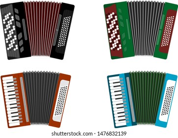 Accordion, accordion icon. Set of colored accordions isolated on white. Vector illustration, vector.