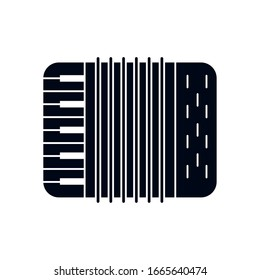 accordion instrument silhouette style icon design, Music sound melody song musical art and composition theme Vector illustration