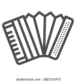 Accordion line icon, Oktoberfest concept, Musical instrument silhouette sign on white background, harmonica icon in outline style for mobile concept and web design. Vector graphics