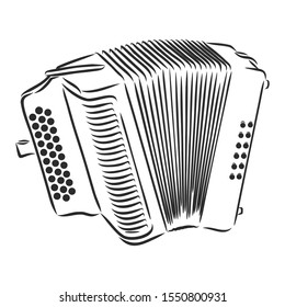 accordion music instrument sketch, contour vector illustration