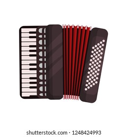 Accordion musical instrument vector Illustration on a white background