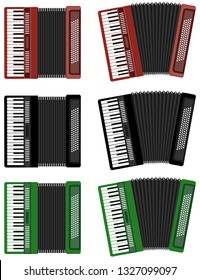 Accordion, set of color realistic accordions isolated on white. Cartoon illustration of an accordion.